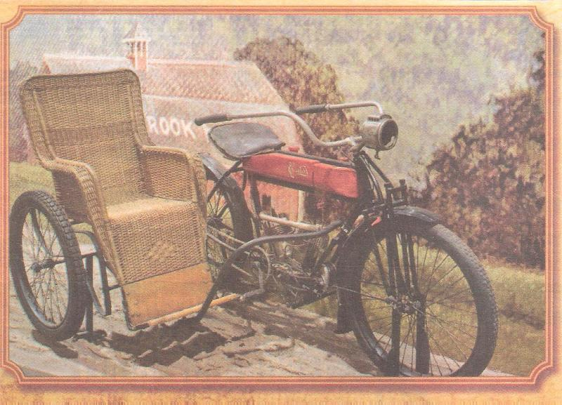 1909 Curtiss V-Twin Motorcycle with Wicker Sidecar