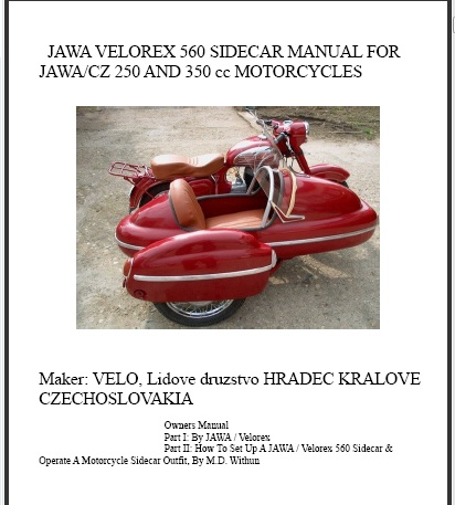 560 Velorex JAWA set up manual cover on CD PDF