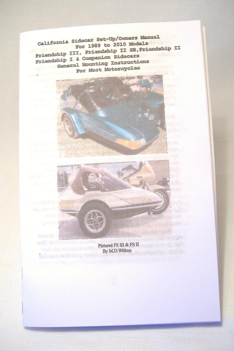 California Sidecar Set-Up / Owners Manual For 1989 to 2010 Models