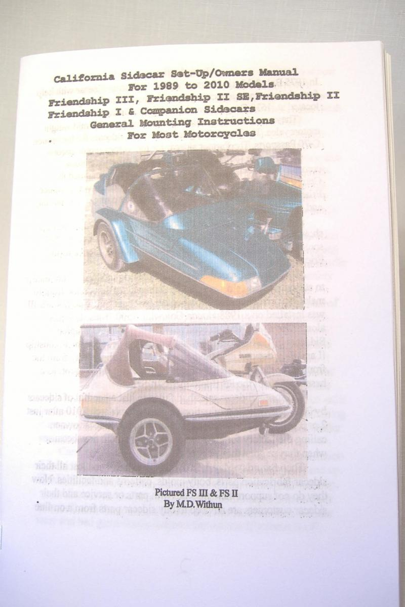 California Sidecar 1989-2010 Set Up Owners Manual