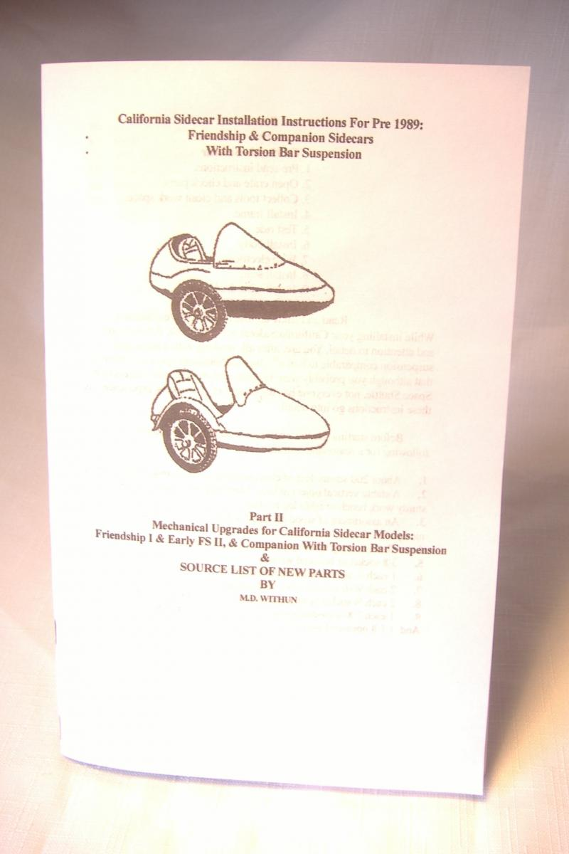 California Sidecar Owners Manual For Pre 1989 Sidecars with Torsion Suspension