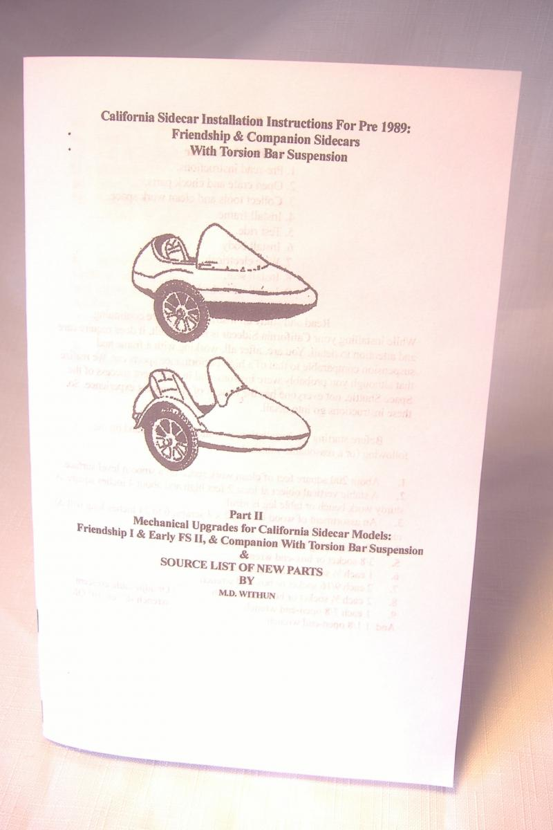 California sidecar installation instruction owners manual