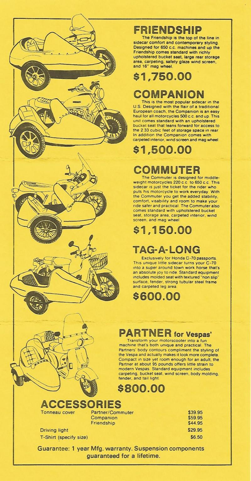California Sidecar sales brochure late 1970s early 1980s