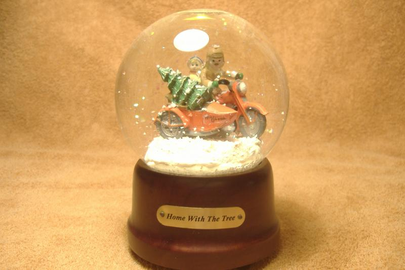 Christmas Motorcycle Sidecar Musical Snow Globe