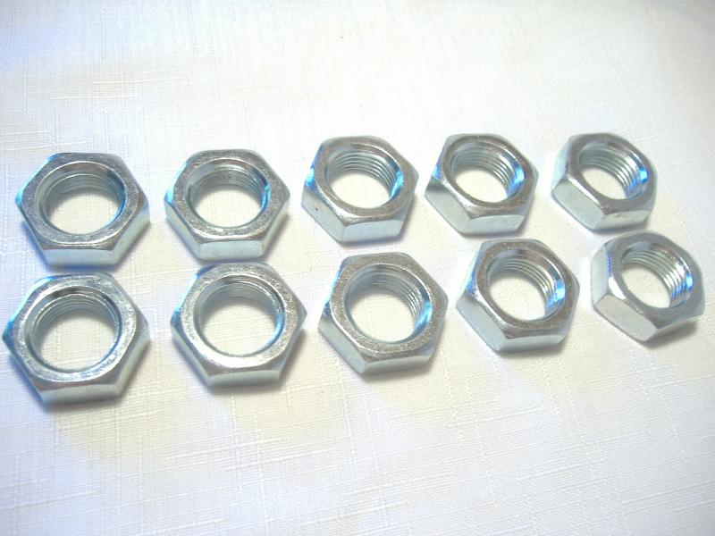 "Motorcycle sidecar mount jam nuts 3/4"" x 16 threads zinc plated"