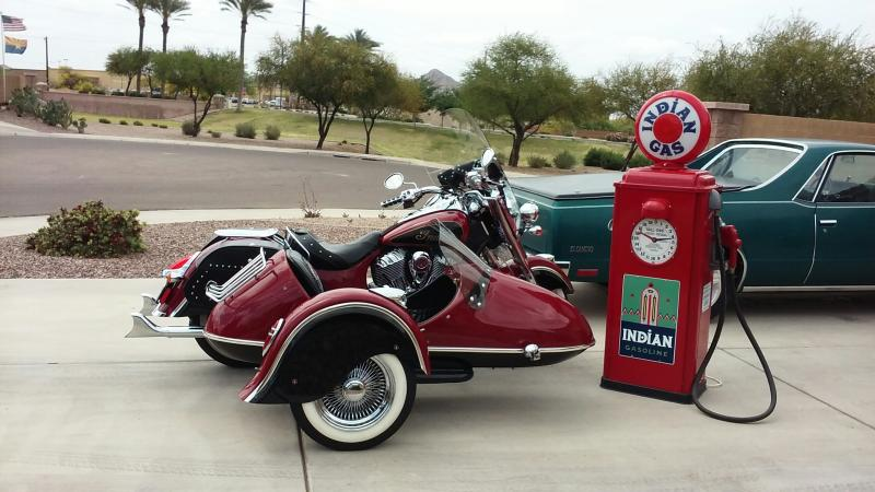 Indian Chief Motorcycle & California Sidecar Companion GT an old time gas pump