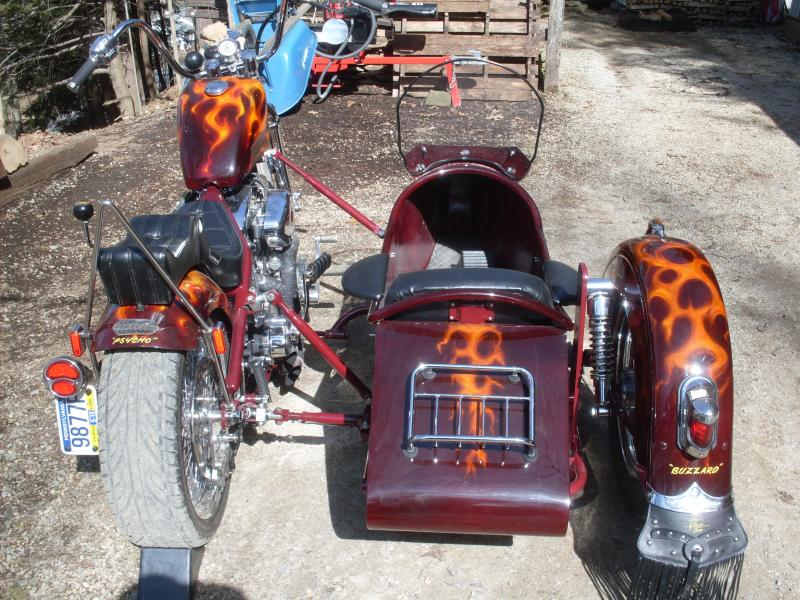 "Inder Royal Retro Sidecar ""the canoe"" Custom Paint & Harley Wheel & Fender"