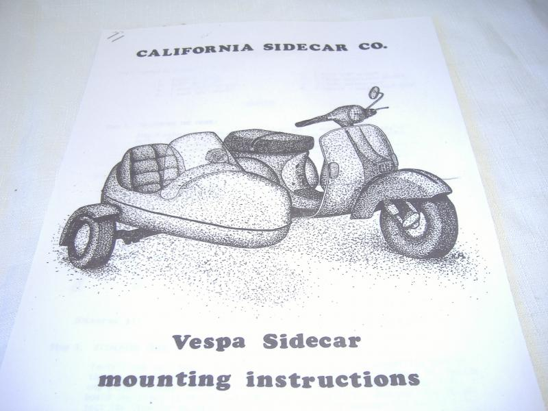 California Partner scooter sidecar manual on Vespa