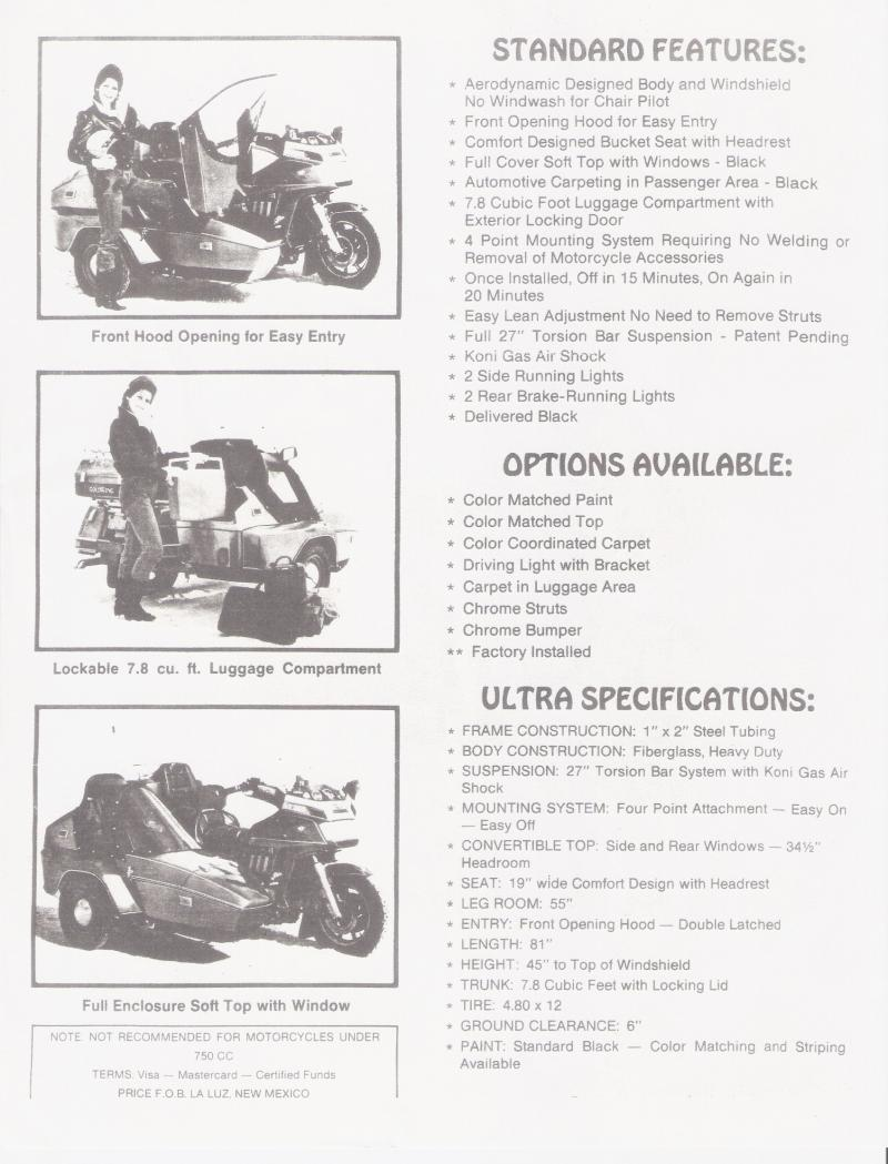 Moline Ultra Sidecar sales brochure page 2