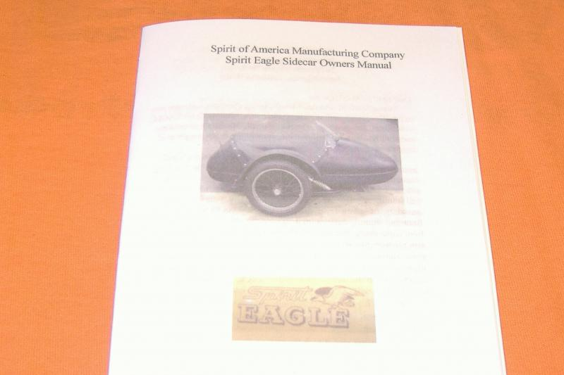 Spirit of America, Spirit Eagle Sidecar Owners Manual New