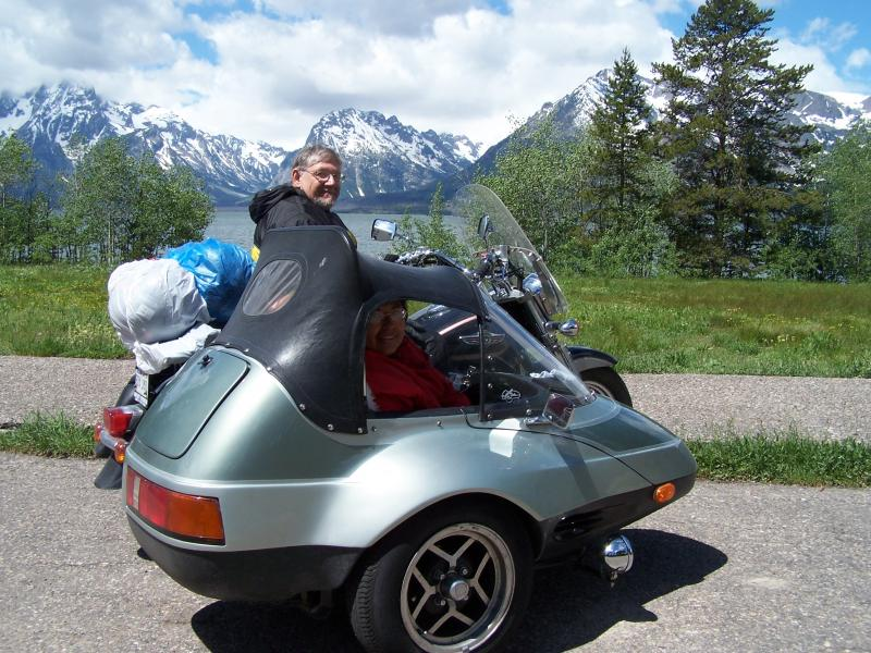California Sidecar Friendship II SE at Yellowstone an Tetons Terry an Margaret