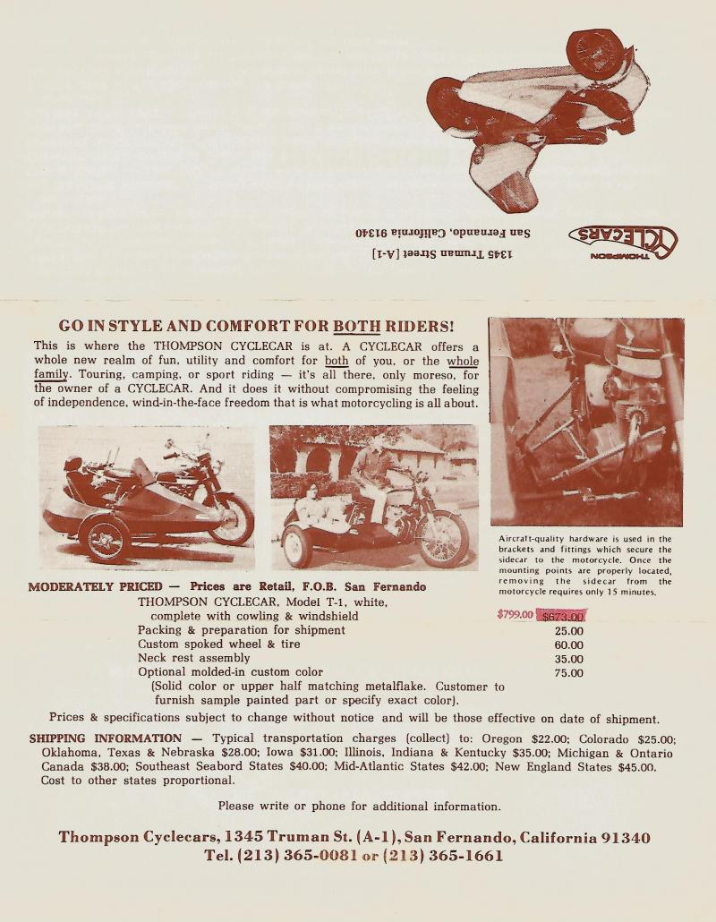 Thompson Cyclecar sales brochure back side motorcycle sidecar
