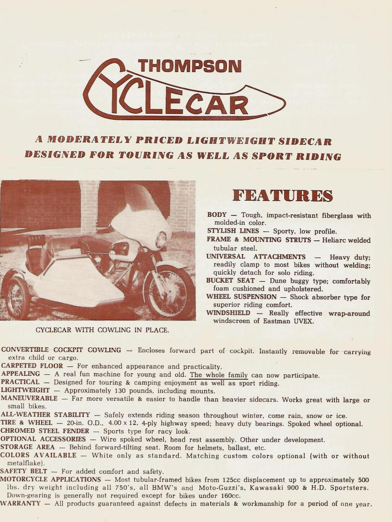 Thompson Cyclecar sales brochure motorcycle sidecar