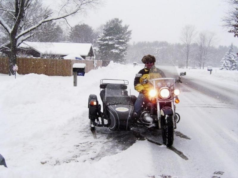 Moto Guzzi & Sidecar spring time snow in Wisconsin
