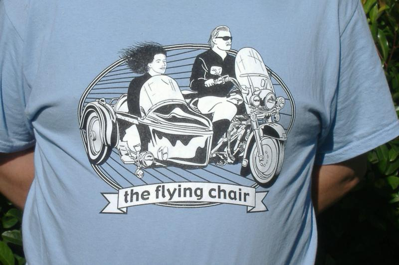 "Light Blue ""the flying chair"" t-shirt."
